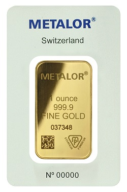 Metalor 1oz gold bullion bar