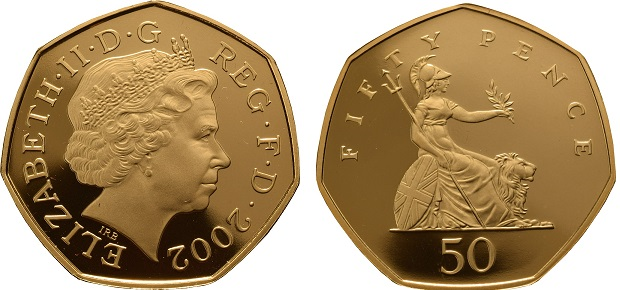 Gold Fifty Pence Coin