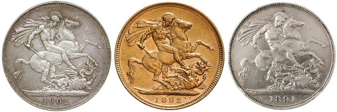 Silver Crowns and Gold Sovereign