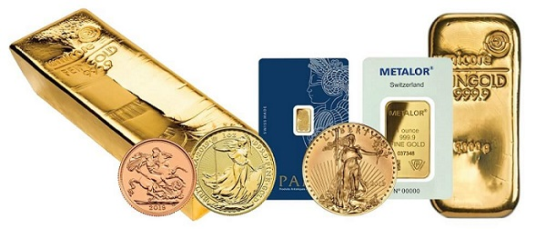 Physical gold bars and coin