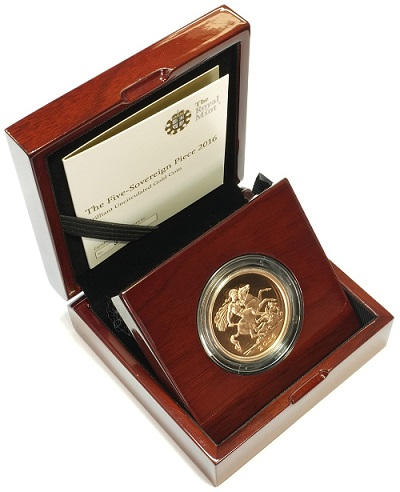 A quintuple sovereign, the largest British coin