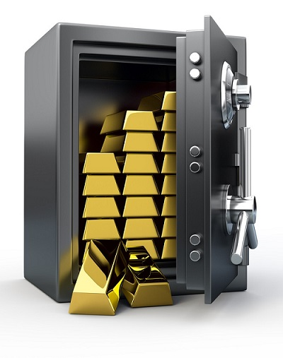 Gold stored in a safe