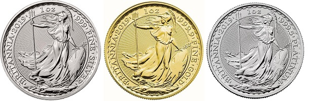 Britannia coins made from the precious metals gold, silver and platinum