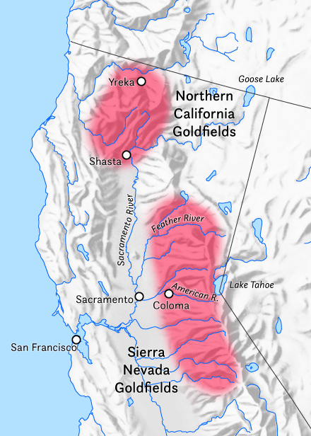 A map of California's gold rush areas.