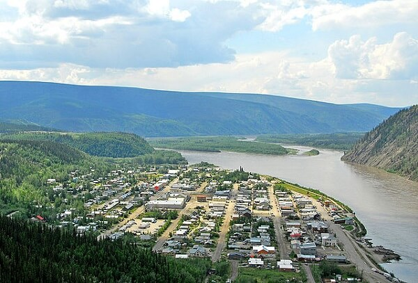 An aerial photo of Dawson City today, once the centre of the Klondike gold rush.