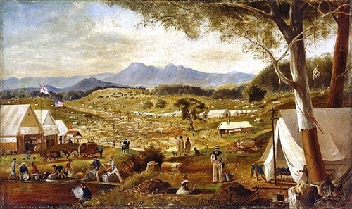 Digging taking place in Victoria during the Australian gold rush.