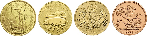 Four of the most popular tax-free investment bullion gold coins.