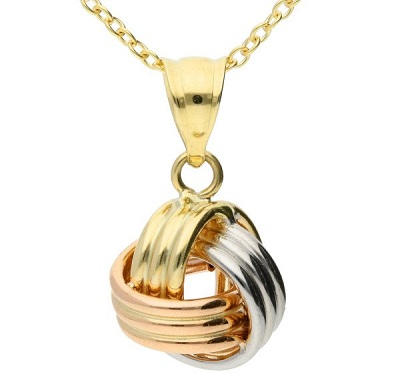 Multiple gold alloys in a knot pendant.