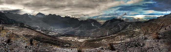 Panorama of Grasberg mine, the world's biggest mine.