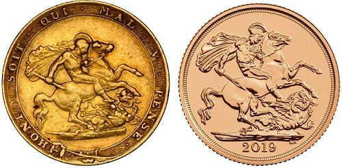 One pound Sovereign coins