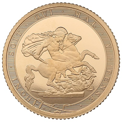 A 2017 Proof Sovereign featuring the phrase honi soit qui mal y pense.