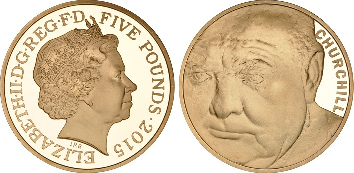 The 2015 gold £5 proof coin for the 50th anniversary of the death of Sir Winston Churchill.
