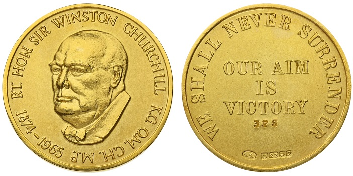 1965 Winston Churchill gold medallion by A. Edward Jones Ltd.
