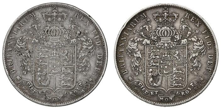 George IV Halfcrowns featuring the phrase 'Dieu et mon droit'.