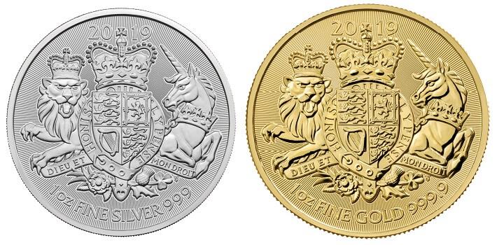 2019 Royal Arms coins featuring the phrase 'Dieu et mon droit'.