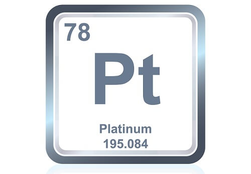 Chemical symbol for platinum, one of the densest metals.