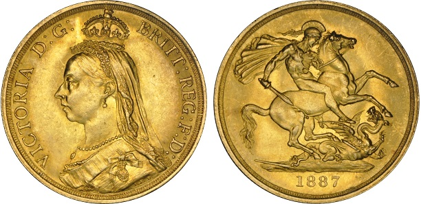 An 1887 gold Double Sovereign, one of the first commemorative £2 coins.