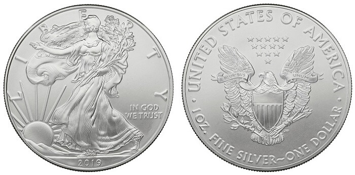 2019 Silver Eagle coin, with no 'head' but a symbol for the obverse.