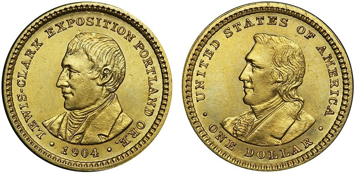 Lewis and Clark gold dollar, a coin with two heads, but one obverse.