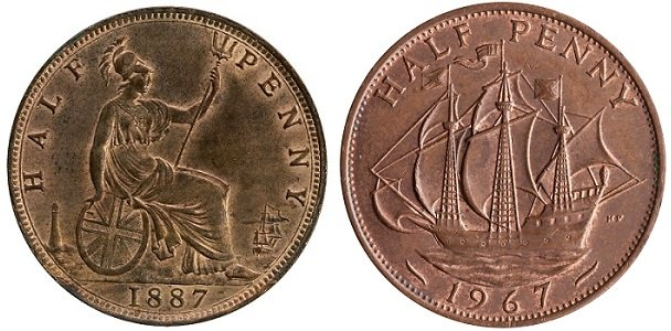 The change in design of the half penny coin.