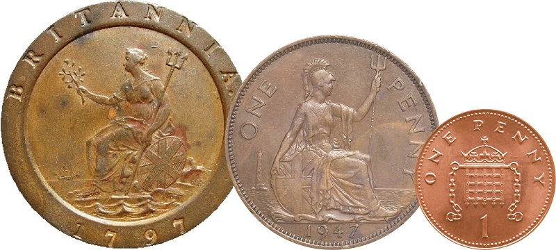 An old cartwheel penny in scale with traditional penny and decimal penny.