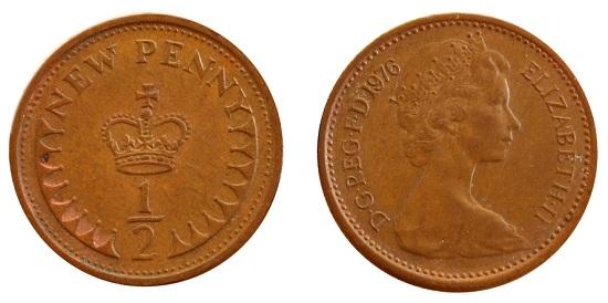 Decimal half penny coin.