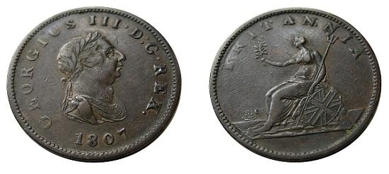 George III half penny.