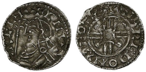 An old silver penny coin, from the reign of King Harthacnut
