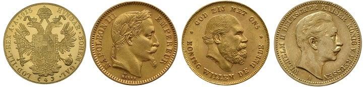 Old European gold coins.