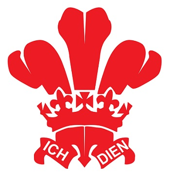 The Prince of Wales' feathers, the heraldic badge of the Prince of Wales with the phrase Ich Dien.