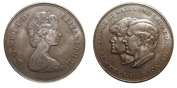 1981 Charles and Diana wedding crown coin.