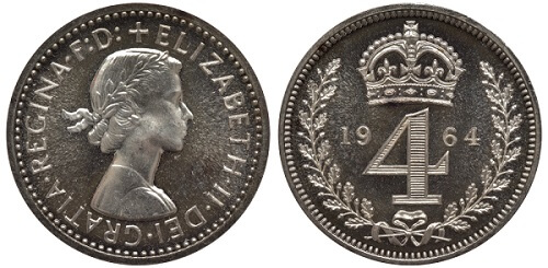 A 1964 Maundy Money Groat coin.