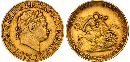 The first of the modern Sovereign coins, struck in 1817.