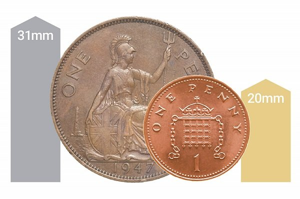 Comparison of old UK penny coins versus the current UK coin.