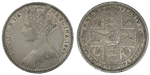 The 1849 two shilling coin, known as the Godless Florin.