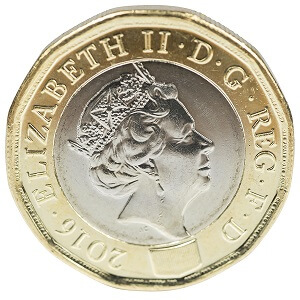 The current 12-sided pound coin with the initials D.G for Dei Gratia.