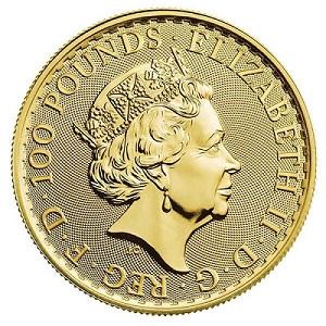 A gold Britannia coin with D.G.REG stamped on the obverse for Dei Gratia Regina.