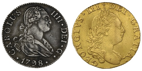 Two coins showing variations of the 'Dei Gratia' phrase.