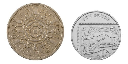 The pre-decimal two shilling coin and the decimal replacement 10p coin.