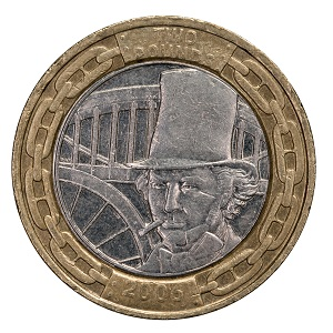 The circulating £2 Brunel coin.