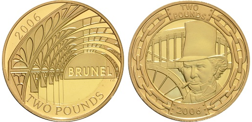The reverse side of both gold proof versions of the Brunel £2 coins.