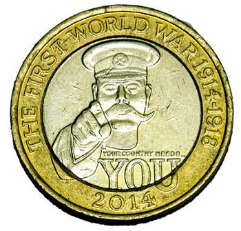 The circulating bi-metallic £2 First World War coin.