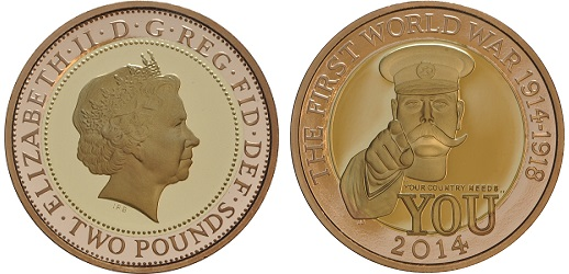 The proof gold, 2014 First World War £2 coin.