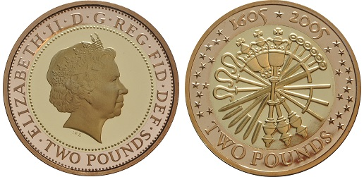The 1605 to 2005 £2 gold proof coin.