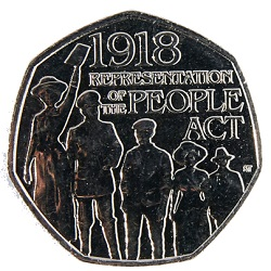 Representation of the People Act commemorative 50p coin.