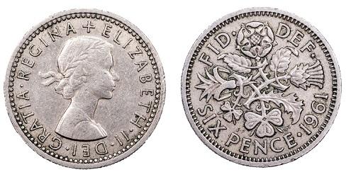 Elizabeth II sixpence.