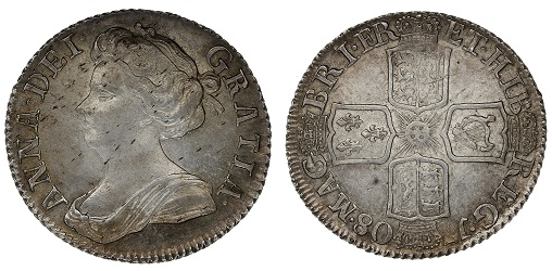 Queen Anne sixpence.