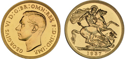 A 1937 Double Sovereign of King George VI.