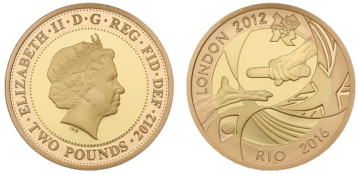 The gold version of the 2012 Olympic Handover £2 coin, one of the highest coins on the scarcity index.