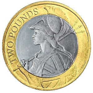 A 2015 £2 coin featuring a redesigned image of Britannia.